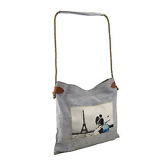 Romance at the Eiffel Tower Canvas Tote Bag w/Rope Handle
