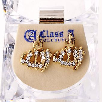 Iced Out Bling Ohrstecker Box - ALLAH gold