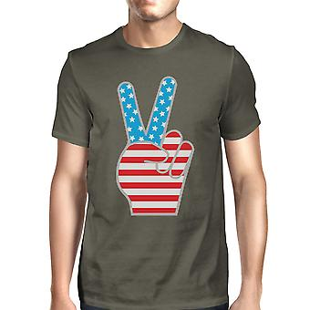 Peace Sign American Flag Unique Design Graphic T-Shirt For Men