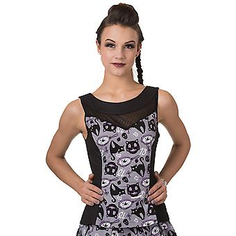 Banned - NINE LIVES TOP - Womens  - Sleeveless Peplum Lace Insert Top