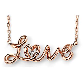 925 Silver Love Rose Gold Plated Trend Necklace