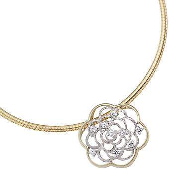 Trailer flower 333 gold yellow gold white gold bicolor with cubic zirconia pendant gold