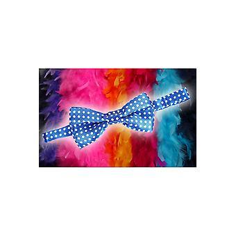 Buigt en banden strik blauw met witte stippen
