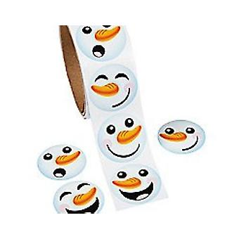 Roll of 100 Christmas Snowman Stickers for Kids | Kids Christmas Stickers