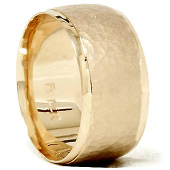 Hamrade avfasade bröllop Band 14K gult guld