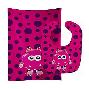 Carolines Treasures  BB9122STBU Monster Baby Bib & Burp Cloth