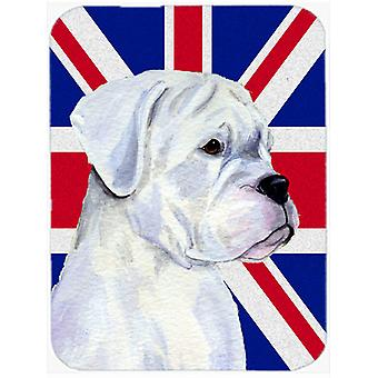 Boxer with English Union Jack British Flag Mouse Pad, Hot Pad or Trivet