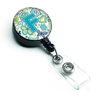 Letter F Flowers and Butterflies Teal Blue Retractable Badge Reel