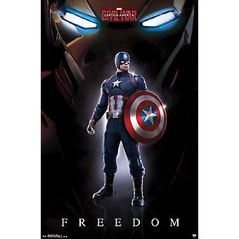 Guerre civile de Captain America - liberté affiche Poster Print
