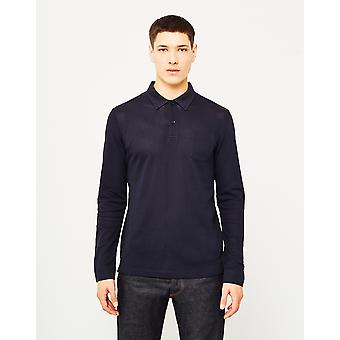 Sunspel lang ærme Riviera Polo Shirt Navy