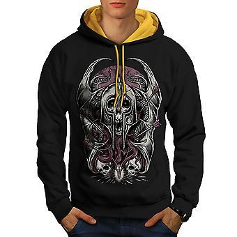 Cráneo con guerra Horror Fantasy hombres negro con capucha de contraste (campana de oro) | Wellcoda