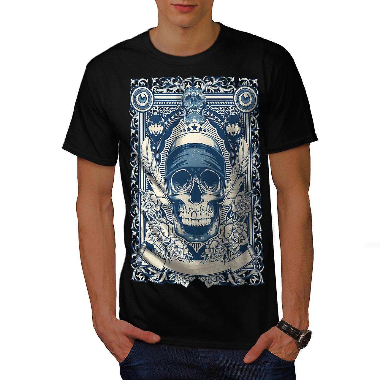 Day Dead Feather Skull Men Black T-shirt | Wellcoda