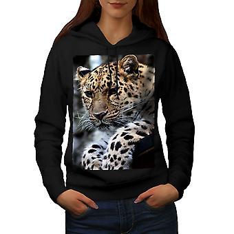 Leopard Nature Animal Women BlackHoodie | Wellcoda
