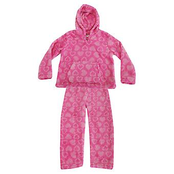 Cute Girl Childrens meisjes Glittery hart Print superzacht Fleece pyjama's Hoodie en bodems Set