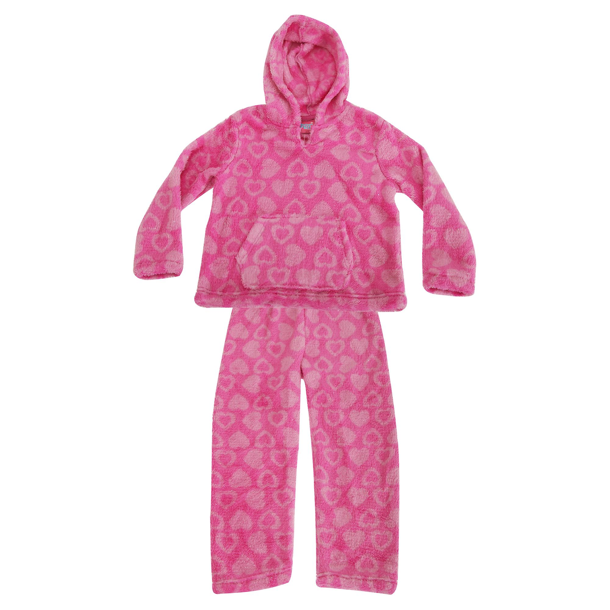 Selena Girl Childrens Girls Glittery Heart Print Supersoft Fleece Pyjama Hoodie And Bottoms Set