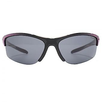 Freedom Polarised Kinabalu Semi Rimless Wrap Sunglasses In Black To Purple