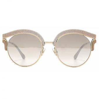 Jimmy Choo Lash Leather Brow Sunglasses In Bronze Beige