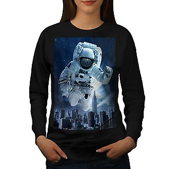 Astronaut City Women BlackSweatshirt | Wellcoda