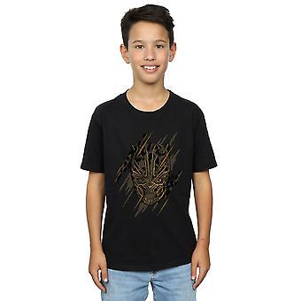 Marvel Boys Black Panther Gold Head T-Shirt