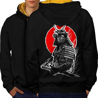 Japanese War Men Black (Gold Hood)Contrast Hoodie Back | Wellcoda