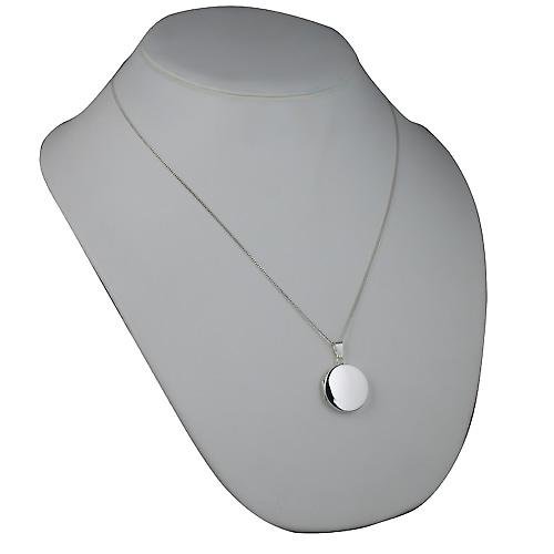 Silver 23mm plain flat round Locket with a curb Chain 22 inches