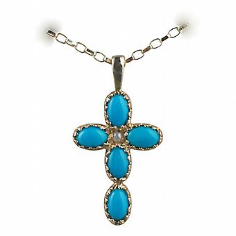 9ct Gold 25x16mm Cross set with 5 Turquoise and 1 Pearl on a belcher Chain 16 inches Only Suitable for Children