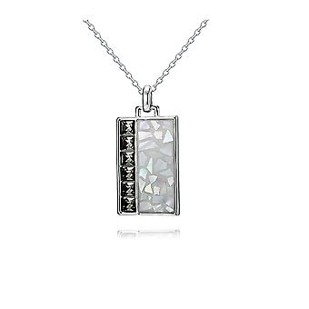 Plate and Swarovski Elements Black Diamond and Rhodium plate Crystal pendant