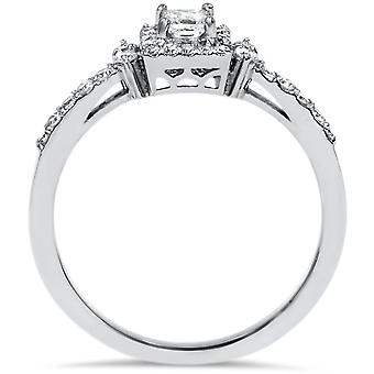 3 / 8ct prinsesse Cut diamant Vintage Halo Engagement løfte Ring 10K hvidguld