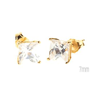14 K Gold iced out Stud Earrings - CAST SQUARE