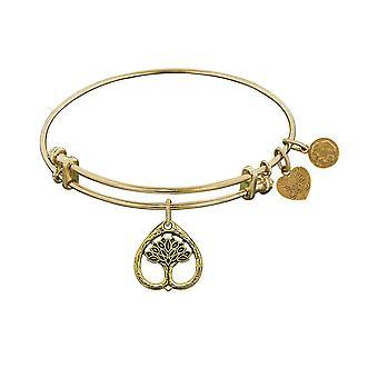 Stipple Finish Brass Tree Of Life Angelica Bangle Bracelet, 7.25