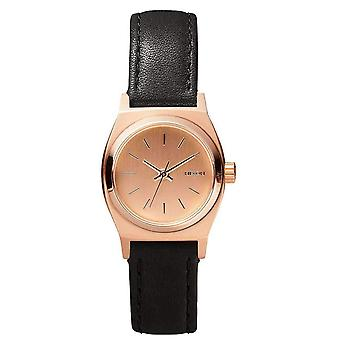 Nixon The Small Time Teller Leather Watch - Rose Gold/Black
