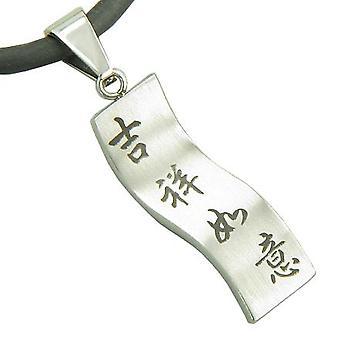 Amulet held og lykke, magiske beskyttelse vedhæng på gummi sølv ledningen