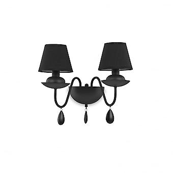 Ideal Lux Blanche Twin Wall Light Black