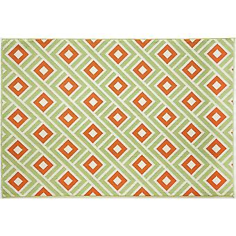 Outdoor carpet for Terrace / balcony green orange white Vitaminic Greca Green 133 / 190 cm carpet indoor / outdoor - for indoors and outdoors