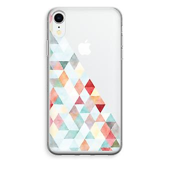 iPhone XR Transparant Case - Coloured triangles pastel