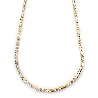 Tennis Necklace 18k Gold plated CZ Round Cut 4mm