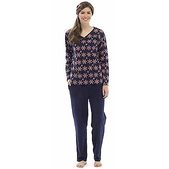 Ladies Tom frankerne Snowflake Print vinteren lang Fleece Pyjama pyjamas Sleepwear