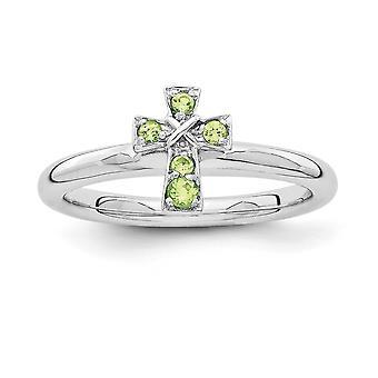 2,25 mm argento rodiato impilabile espressioni rodio Peridot croce anello - anello Dimensione: 5-10