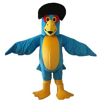 mascot Parrot blue and yellow, with a black hat SPOTSOUND
