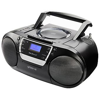 Groov-e GVPS933BK Ultimate Bluetooth Boombox Portable CD & Cassette Player with DAB/FM Radio