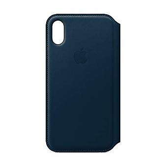 Genuino originale Apple iPhone custodia Folio in pelle X-Cosmos blu MQRW2ZM/A