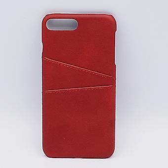 Voor iPhone 7 - kunstlederen back cover / wallet - rood