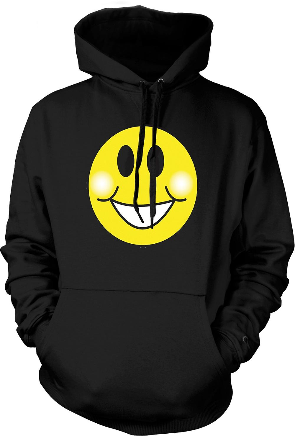 Mens Hoodie - Smiley Face - Chubby Cheeks - Acid House