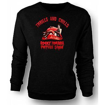 Mens Sweatshirt Thrills Chills Rocky Horror Picture