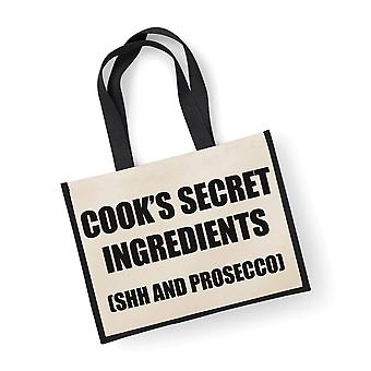 Large Black Jute Bag Cook's Secret Ingredients (Shh and Prosecco)