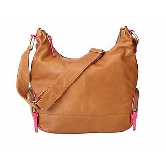 Oioi soft tan leather hot pink trim bag