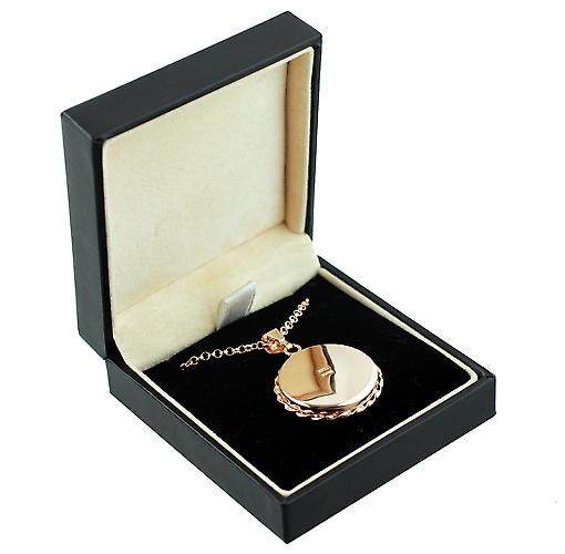 9ct Rose Gold 25mm twisted wire edge flat round Locket with belcher Chain 16 inches Only Suitable for Children