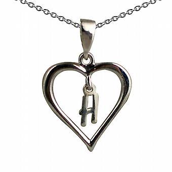 Prata 18x18mm H inicial em um pingente de coração com um rolo de corrente 20 polegadas