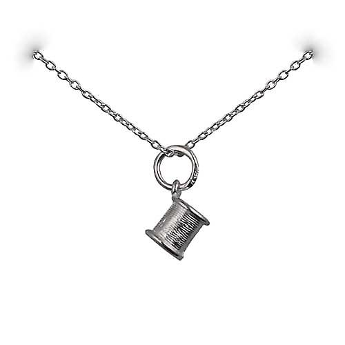 Silver 6x7mm seamstress's Cotton Reel Pendant with a rolo Chain 14 inches Only Suitable for Children