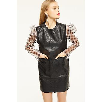 Cubic Leather Look Mini Dress With Front Pockets